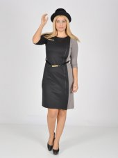 Nidya Moda Büyük Beden Kombinli Kemerli Elbise 4018s