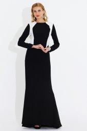 Nidya Moda Büyük Beden Krem Kombin Tesettür Uzun Siyah Balık Abiye Elbise 4048ks