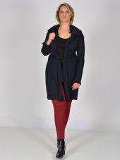 Nidya Moda Büyük Beden Kuşaklı Kapşonlu Lacivert Tunik Ceket 1016çl