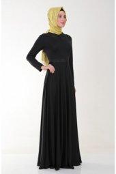 Nidya Moda Tesettür Yaka Kemer Deri Kombinli Siyah Elbise 4041s