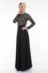 Nidya Moda Tesettür Üst Dantel Siyah Abiye Elbise 4045s