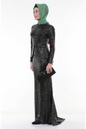 Nidya Moda Tesettür Pullu Payet Peplumlu Balık Siyah Abiye Elbise 4047s