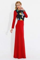 Nidya Moda Büyük Beden Pili Yaka Üst Bahar Kombin Kırmızı Uzun Elbise 4046k