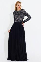 Nidya Moda Büyük Beden Üst Dantelli Uzun Lacivert Abiye Elbise 4045dl