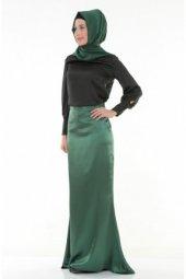 Nidya Moda Tesettür Saten Balık Yeşil Uzun Abiye Etek 3003y