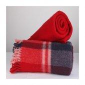 Wool Battaniye Kırmızı Lacivert