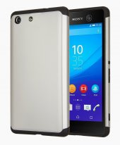 Microsonic Sony Xperia M5 Kılıf Slim Fit Dual Layer Armor Gümüş