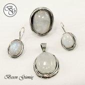 Besen Gümüş Özel Tasarım Doğal Ay Taşı Sarma Gümüş Set