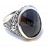 925 Ayar Gümüş Erkek Yüzük Ks Hematit Siyah Oval