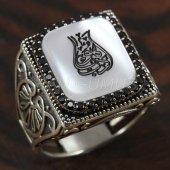 925 Ayar Gümüş Erkek Lale Model Arapça Yazılı Taşlı