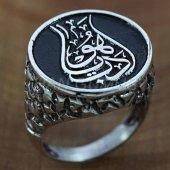 925 Ayar Gümüş Erkek Yüzük Lale Motifli Edep Ya Hu
