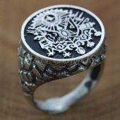 925 Ayar Gümüş Erkek Yüzük Osmanlı Arması Siyah