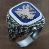 925 Ayar Selçuklu Kartalı Erkek Yüzüğü İçi Mavi
