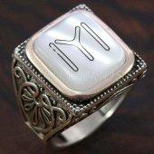 925 Ayar Gümüş Erkek Yüzük Kayı Boyu Köşeli Model