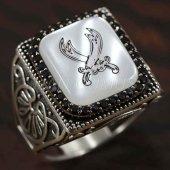 925 Ayar Gümüş Erkek Yüzük Zülfikar Kılıçı Köşeli Model Taşlı