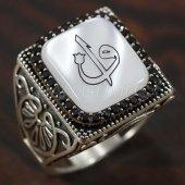 925 Ayar Gümüş Erkek Yüzük Elif Vav Arapça Yazı Köşeli Model Taşlı