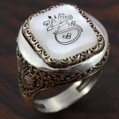 925 Ayar Gümüş Erkek Yüzük Desenli Hiç Hat Yazılı