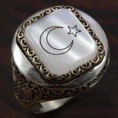 925 Ayar Gümüş Erkek Yüzük Yuvarlak Kasa Desenli A...