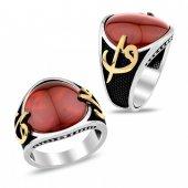 Elif Vav Motifli Doğal Taşlı Gümüş Erkek Yüzüğü