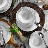 Kütahya Porselen İnci 12 Kişilik 48 Parça Beyaz Yemek Takımı