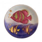 El Boyama Altın Süslemeli Porselen Tabak Balıklar