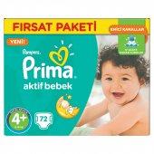 Prima Bebek Bezi Aktif Bebek 4+ Beden Maxi Plus Hiper Ekonomik Paket 72 Adet