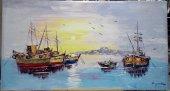 Günbatımı & Gemiler 70*130 Cm Orijinal Yağlı Boya Tablo