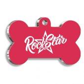 Pet Tag Art Rock Star Pembe Kemik Şekilli Köpek Künyesi