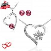 Sevgililer Gününe Özel Swarovski Taşlı Gümüş Set Kalpler