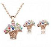 Bayan Liya Zirkon Taşlı Çiçek Sepeti Modelli Kolye Küpe Seti