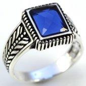 Gümüş Erkek Yüzük Dikdörtgen Mavi Taşlı