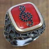 Gümüş Erkek Yüzük Petek Model Sol Anahtarı Kırmızı Mineli