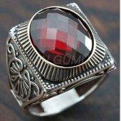 Gümüş Erkek Yüzük Köşeli Granat Kırmızı