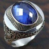 Gümüş Erkek Yüzük Yuvarlak Safir Mavi