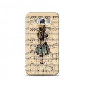 Samsung E5 Kılıf Vintage Alice In Wonderland Desenli Kılıf