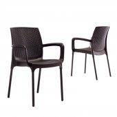 2 Adet Novussi Sunset Rattan Model Sandalye (Kahverengi Renk)