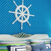 Mavi Puanlı Çocuk Odası Duvar Kağıdı Nefes Alabilen Kağıt