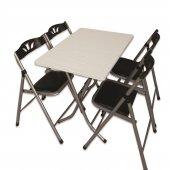 Sinem Siyah Katlanır Mutfak Balkon Masa Sandalye Takımı 70x110blk