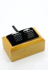 Taşlı Siyah Kol Düğmesi Kd228