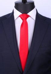 Kırmızı Slim Düz Saten Kravat Sk5030