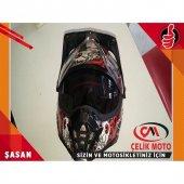 Kross Enduro Kask Sıyah Kırmızı Güneş Vizorlü Camlı (M) #k168m