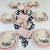 Keramika Retro Açık Pembe 6 Kişilik Kahvaltı Takımı