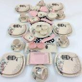 Keramika Retro Açık Pembe 47 Parça 6 Kişilik Kahvaltı Takımı