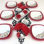 Keramika Dance Of Butterfly Red 6 Kişilik...