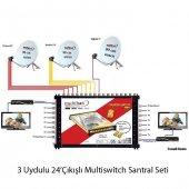 3 Uydulu 24çıkışlı Multiswitch Santral Seti
