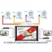 4 Uydulu 8 Çıkışlı Multiswitch Santral Seti