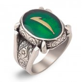 Yeşil Mineli Elif Motifli Gümüş Yüzük