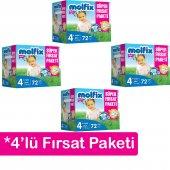 4&#039 Lü Molfix Bebek Bezi Süper Fırsat Paketi 4+ Numara 72&#039 Li 9 16kg