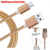 Samsung Galaxy Şarj Kablo Halat Kablo Naylon İp Örgülü Kopmaz Usb Kablo S8 Edge Plus 2 Öde 3 Al