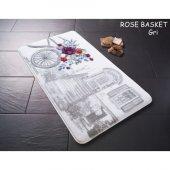 Confetti Rose Basket Kaymaz Banyo Halısı Paspas 55x57 Gri